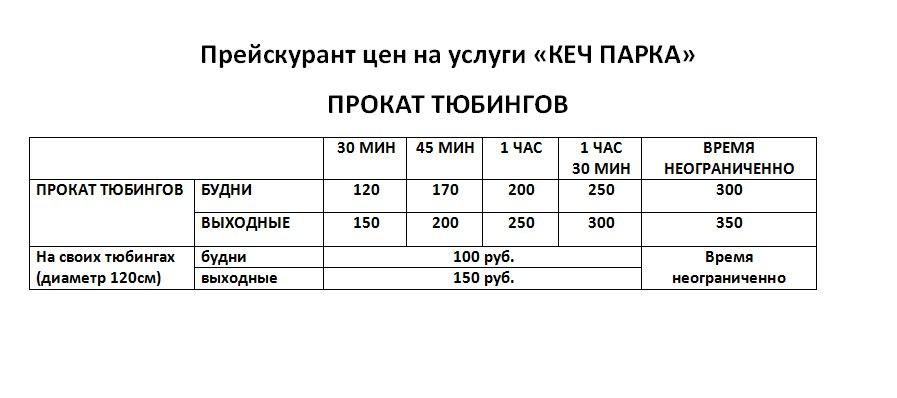 Цены на прокат тюбингов в Кеч-парке 2018 (Козий парк) Ижевск