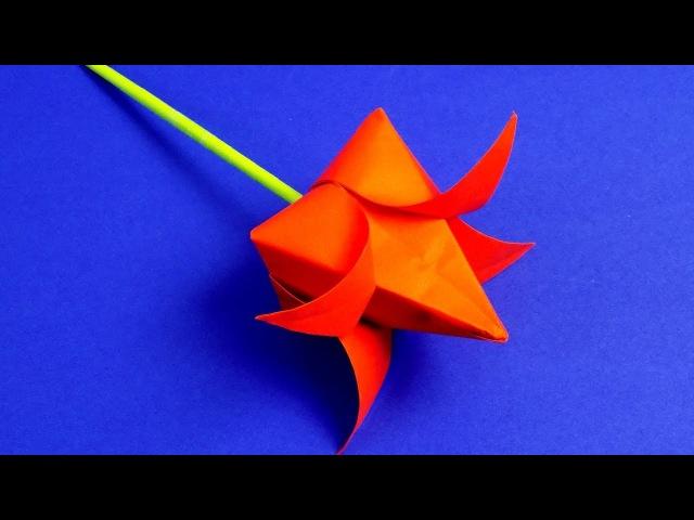 Как сделать тюльпан из бумаги своими руками | ОРИГАМИ ТЮЛЬПАН | Цветы из бумаги
