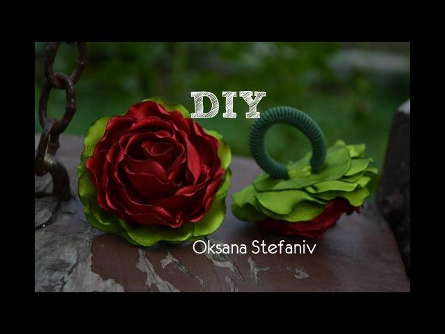 DIY Rose . Маленькі троянди зі стрічки 5 см .Резинки.