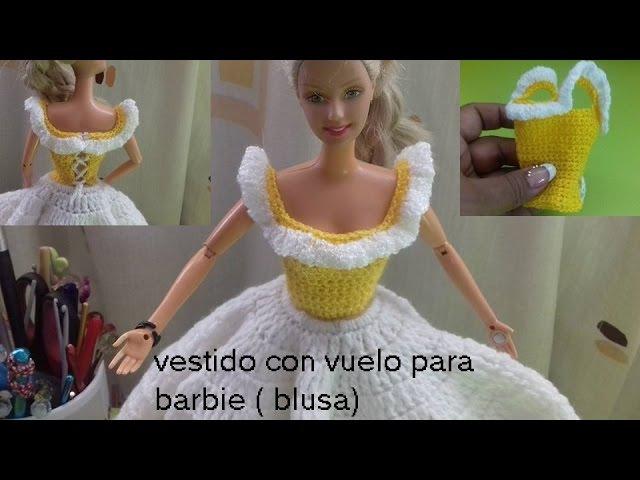 Vestido con vuelo de piñas para muñeca barbie (blusa)