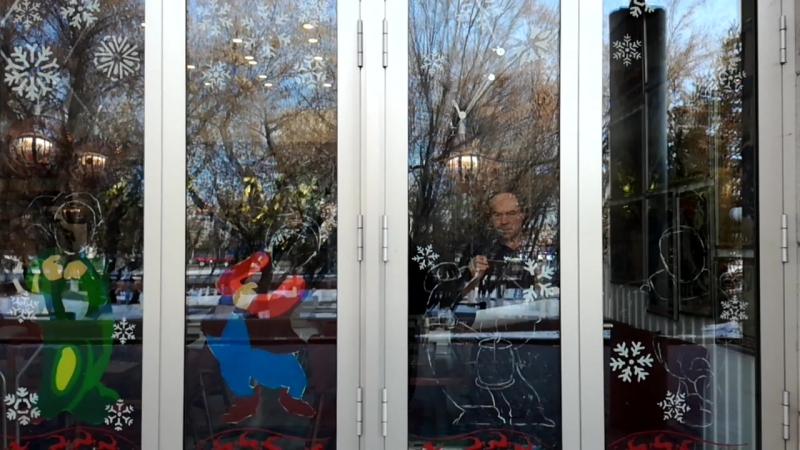 Новогодний вид Кафе Целинников - Анатолий Корякин 2018