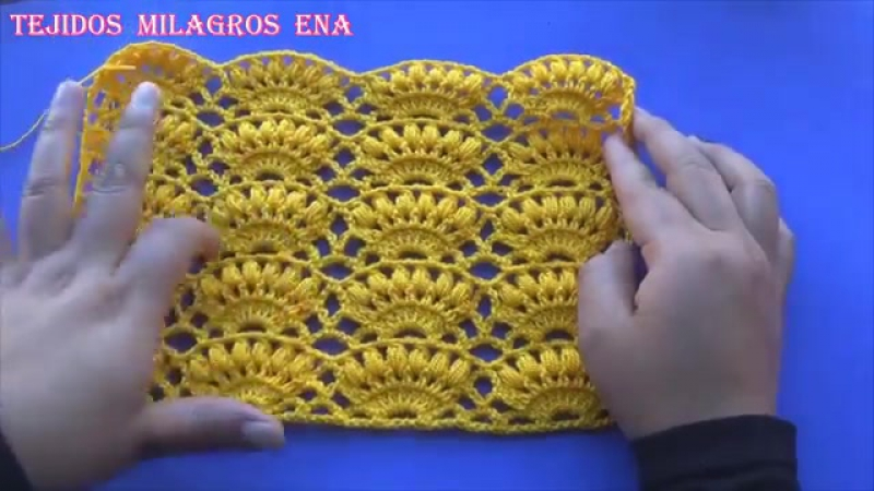 Punto a crochet Combinación de Abanicos con puntos Garbanzos paso a paso - YouTube (360p)