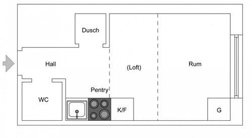 Маленькая шведская студия 18 м с кроватью на втором уровне.