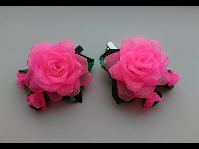Бантики Розы из органзы 2,5 см. Канзаши МК / Ribbon Rose organza 2.5 cm Kanzashi MK