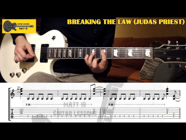 Breaking The Law (Judas Priest) GUITAR LESSON with TAB - Guitar Cover Slow w/ TABS on screen