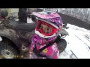 6 year old girl drives the ATV CFMOTO 500cc