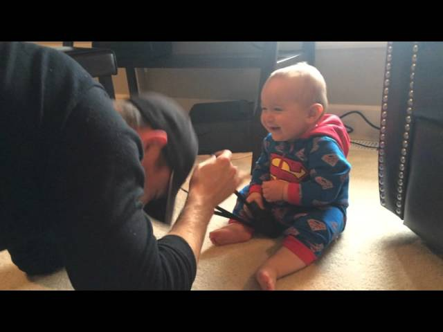 WARNING - Contagious laughter! Baby In Superman onesie laughing hilariously at dad