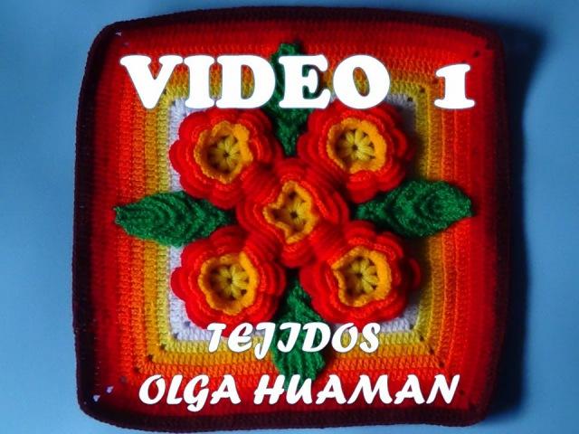 Tejidos a crochet paso a paso: muestra 5 flores para colchas video 1
