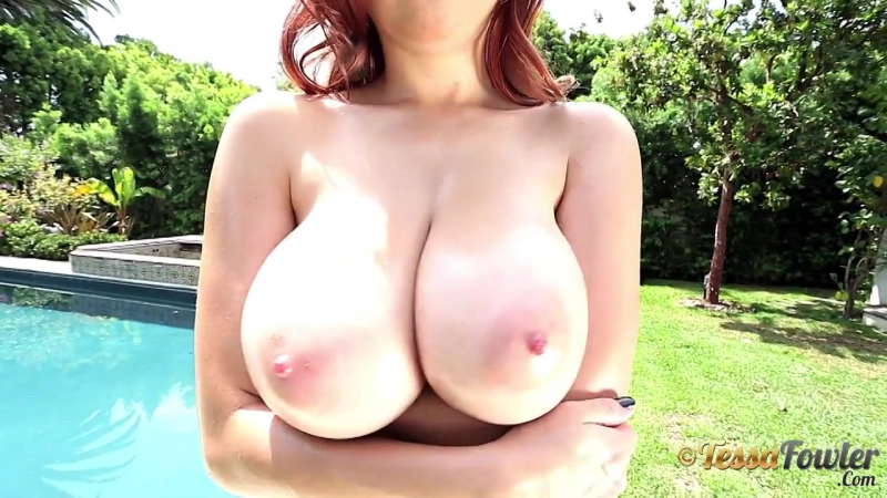 Tessa Fowler squeezing her perfect boobies