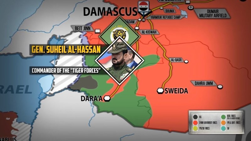22 мая 2018. Военная обстановка в Сирии. Сирийский генерал Сухейль аль-Хассан прибыл на юг Сирии.