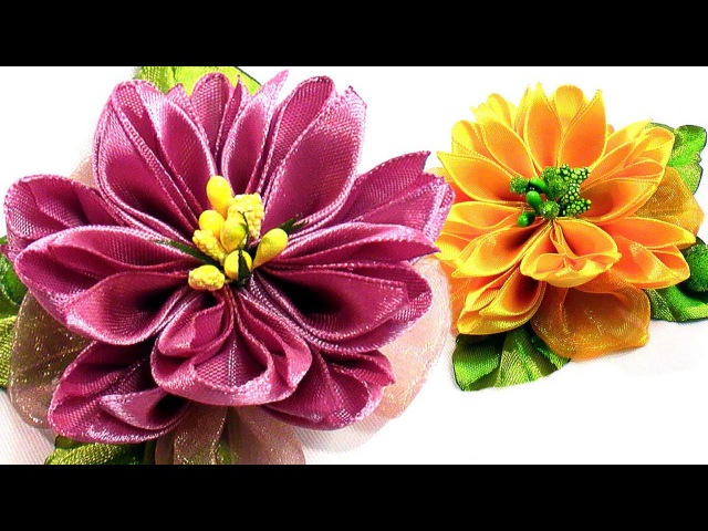 Цветы из лент 5 см / DIY Kanzashi flower, ribbon flower tutorial, how to, easy