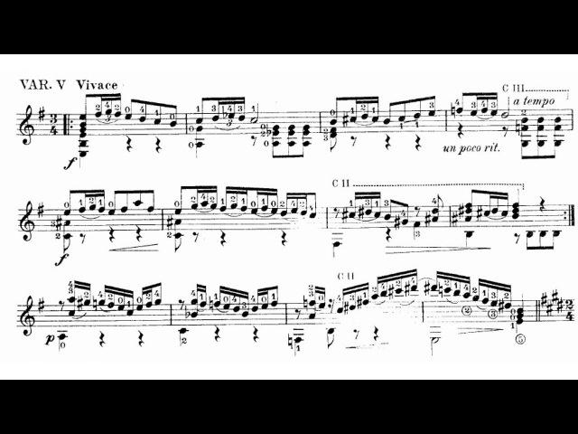 Manuel M. Ponce - Thème varié et Finale for Guitar (Score video)