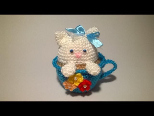 Gatto Tazza SUBTITULOS ESPANOL ENGLISH Cat in the Cup Crochet - Gato Taza Amigurumi Tutorial