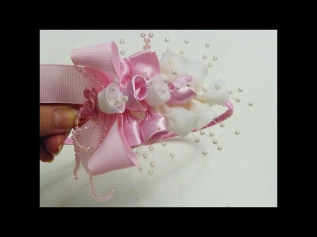 Hermosa Diadema decorada con botones de Flores en Tela, Headband Tutorial
