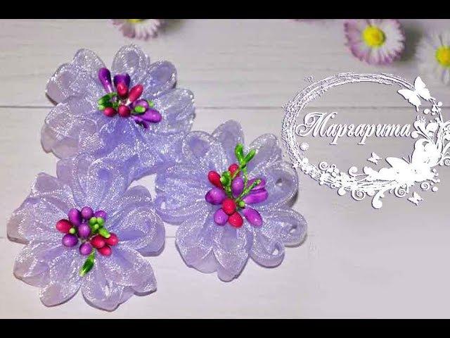 ЦВЕТЫ ИЗ ОРГАНЗЫ канзаши МК 🌷 DIY Kanzashi flowers