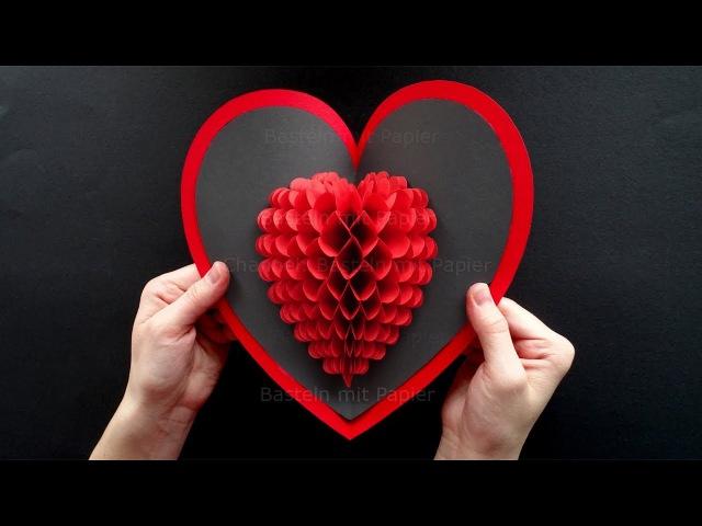 DIY Geschenk ❤ Pop Up Karte basteln mit Papier: Herz ❤ DIY Geschenke selber machen