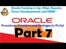 Part 7 Oracle Training Procedures Functions Packages