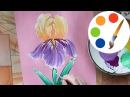 Easy way to paint the Iris flower by a round brush, painting for beginners