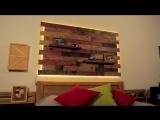 Настенная панель с светодиодной подсветкой из поддонов