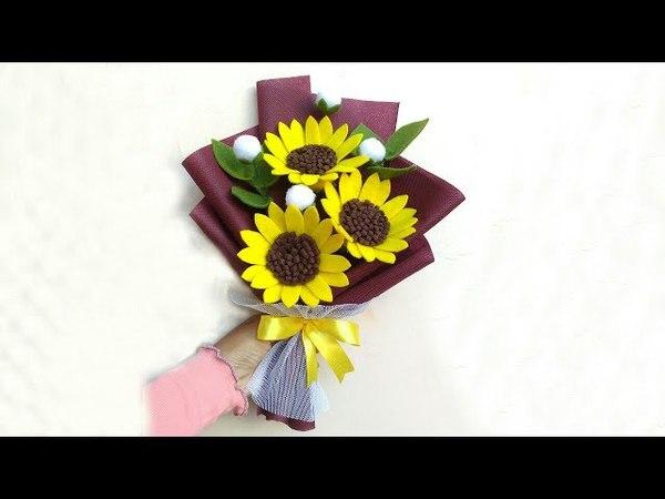 Wrapping Felt Sun flowers Bouquet | Membungkus Buket bunga matahari flanel