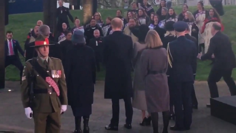 Prince Harry and Meghan watch New Zealand dignitaries and Maori dancers performing the haka.