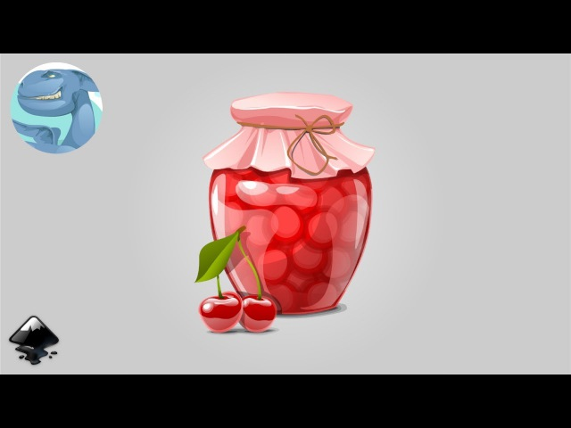 How to draw a jar of cherries in Inkscape