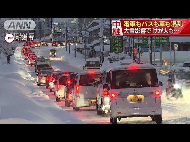 電車もバスも車も混乱 新潟では大雪でけが人も(18/01/12)