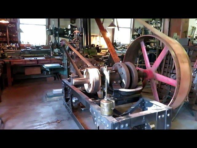OLD STEAM POWERED MACHINE SHOP 30 Bushing a Flywheel