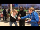 LADY GOES CRAZY AFTER SHE SHOPLIFTS .