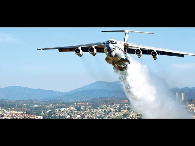 Ilyushin IL 76 Descarga En Quilpue A Pocos Metros del Suelo / Incendio forestal Chile