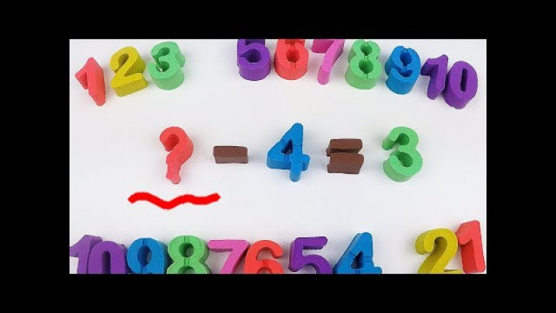 Solving Subtraction Math Quizzes with Kinetic Sand Studying Numbers Learning Colors 키네틱 샌드로 수학뺄셈색깔
