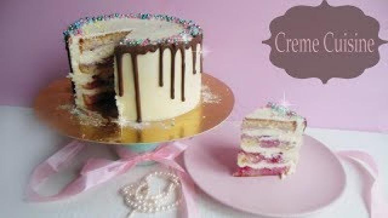 Вишневый Торт с Маскарпоне рецепт и декор шоколадными потеками Creme Cuisine