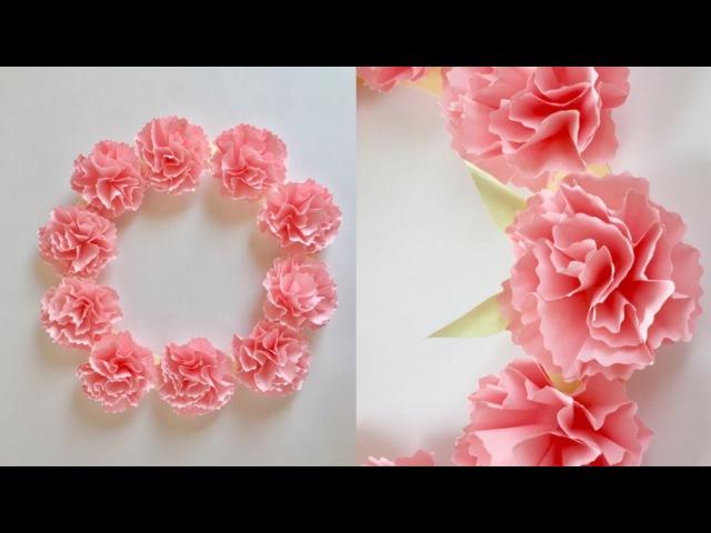 折り紙 カーネーションのリース Paper Carnation Wreath