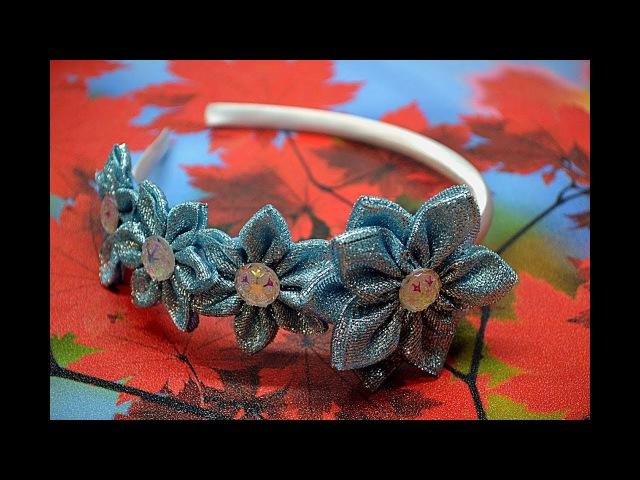 105. Ободок с голубыми цветами канзаши. Видео МК.