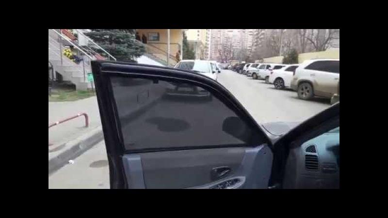 Автошторки на Hyundai Accent на магнитах установка