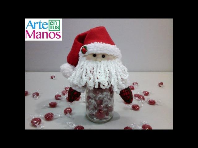 Dulcero Santa Claus en frasco de vidrio reciclado paso a paso