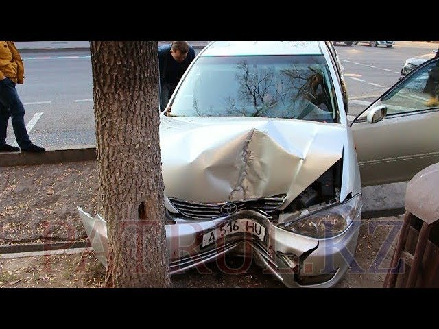 В Алматы столкнулись Toyota и Daewoo: «японца» отбросило на дерев