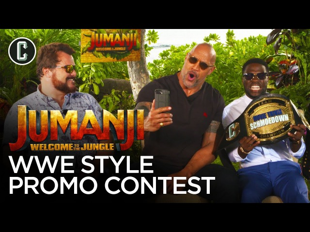 [My1]The Rock Judges Kevin Hart Jack Black in a WWE Jumanji Promo Contest