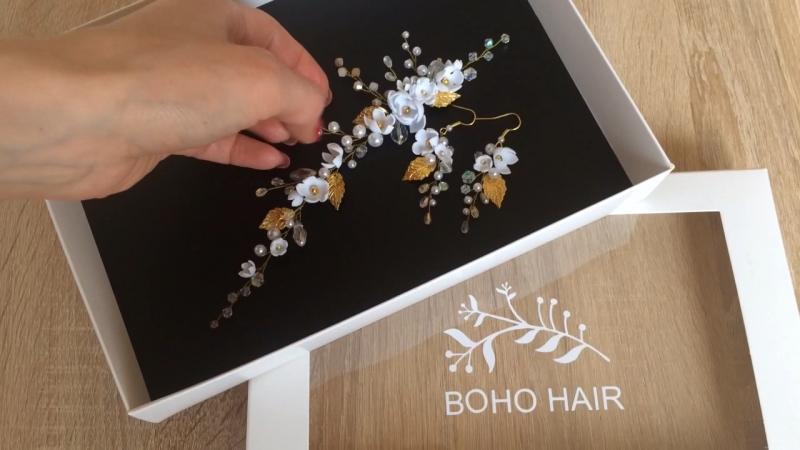 Украшение для волос и серьги BOHO HAIR accessories. Пересылка с любую точку мира.
