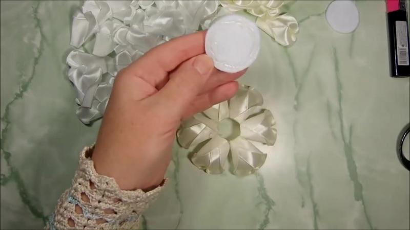 Цветы из лент 2,5 см, лепесток сердечко, канзаши, МК