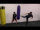 Отработка ударов ногами по мешку, бьет Артем, занимается кик-боксингом 2 года, клуб Лада-Бокс