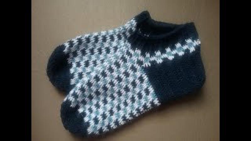 Жаккардовые мужские носки крючком /How crochet socks