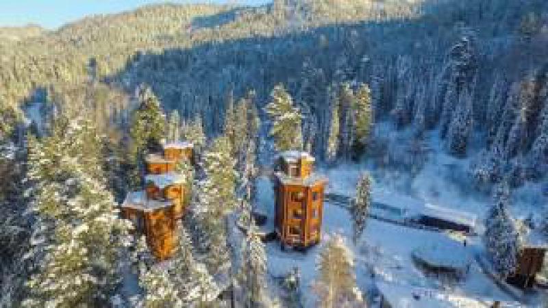 эко-отель Урочище Актра - зимой (Телецкое озеро, Горный Алтай)