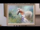 Девушка и белый конь. Мастер-класс по работе Willem Haenraets. Workshop. Allaprima