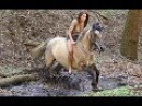 Horse riding in the forest behind the scenes