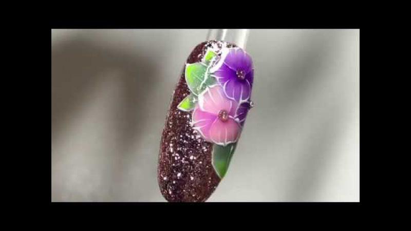 Новогодний дизайн Надоели олени, собачки, и снег на ногтях?! ЦВЕТЫ всегда к стати)