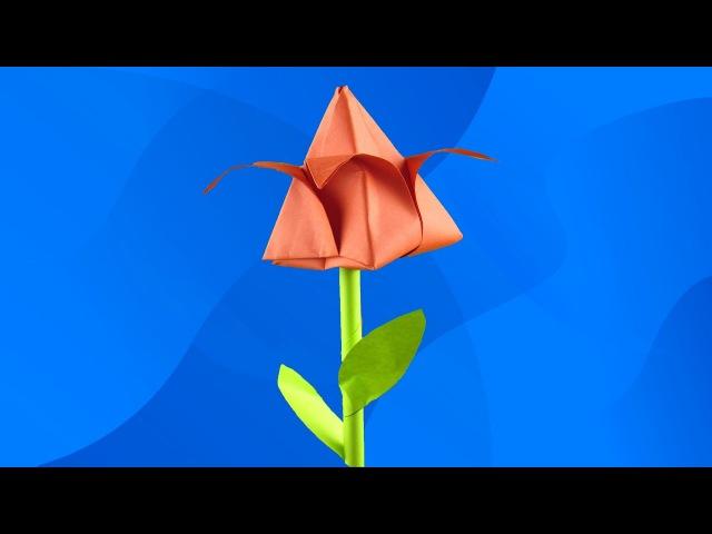 Оригами тюльпан Как сделать тюльпан из бумаги цветок из бумаги Origami