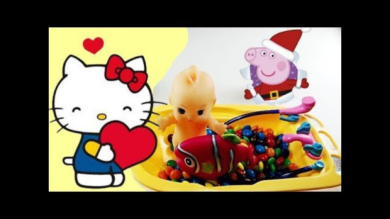 Baby Doll Bath Time Chocolate Candy with Peppa Pig and Hello Kitty - Eggs and Toys TV
