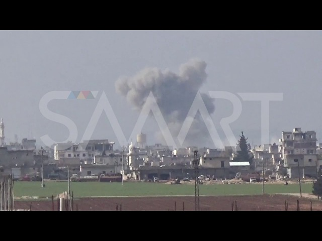 Aerial bombardment of the town of Sarqeb in Idlib