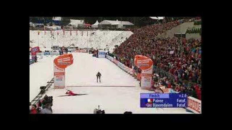 Биатлон финишный спринт Бьорндален Пуаре Фишер